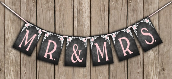 CLEARANCE printed MR & MRS Wedding Banner in Black, white and pink in the chalkboard style - great as a Photo Prop