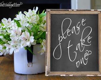 Please Take One Wedding Sign Ceremony Sign Program Sign Ceremony Poster DIY Wedding Sign Printable Wedding Sign Take One Sign Poster 011