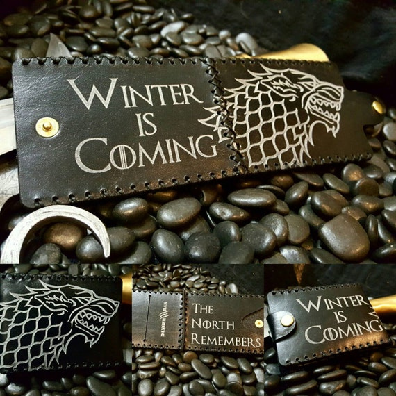 """Premium Black and White Stark Wallet """"Winter is Coming"""" """"The North Remembers"""""""