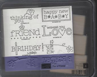 For A Friend Retired Stampin Up! Set of 6 Stamps Wishing You Love, Thank You, Happy New Baby, Birthday Wishes Great for Cards & Scrapbooks