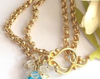 Blue Topaz Charm Bracelet-Gold Filled Rolo Chain Bracelet-Toggle Bracelet-December Birthstone