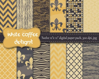 Digital paper fleur de lis, chevron, quatrefoil and wood in charcoal and yellow, father's day, website background, gray, black and yellow