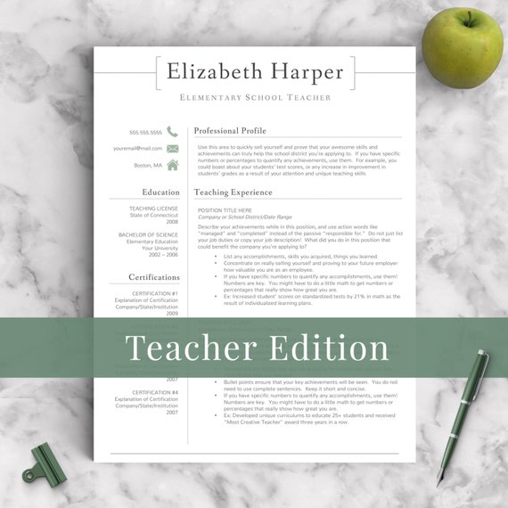 teacher resume template for word  u0026 pages 1