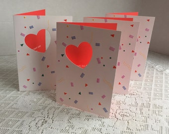 Vintage Valentine's Day Cards and Envelopes by Ambassador Hallmark / Eighties Greeting Cards / Cut Out Heart Cards