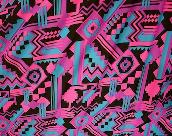 UV Neon Pink & Black Aztec Print Spandex Fabric Pink Purple Blue Black Geometric Shapes Square Zigzag Triangles Pattern Bold (By the Yard)