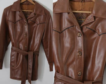 SALE - Sweet 70s Brown Pleather Jacket QT116mB