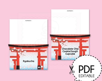 Japanese Party Food Label Tent-Printable PDF Download