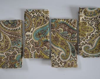 Brown Dinner Napkins - Chocolate, Aqua, Green Paisley Design - Premier Prints Fabric - 17 x 17 -Set of 4 Napkins- Home Decor
