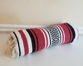 "Mexican Serape, Red, Pendelton Style, Saltillo, 72"" x44"", Mexican Blanket, Fringe, Southwestern Blanket, Falsa, Mexican Throw, Mexico, 1970s"