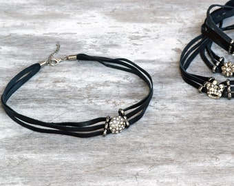 Black leather choker, black choker necklace, adjustable choker, leather chokers, rhinestone choker, 90s fashion choker, gifts for her,