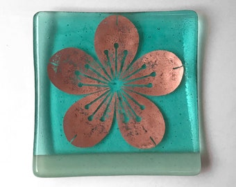 Sakura Fused Glass Catch All Dish, Cherry Blossom Keys And Coins Tray, Japanese Square Dish