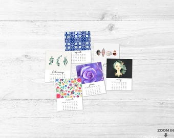 2018 printable calendar - Uplifting calendar - Calendar and wall art - Monthly calendar - Eclectic 2018 calendar - Girls gift - Women gifts