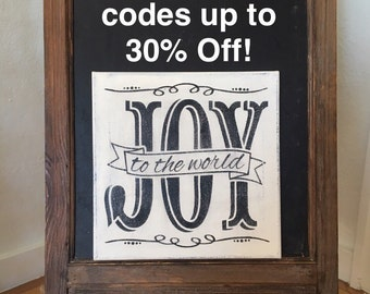 """Joy to the World / Hand Painted Sign / Christmas Sign / 12"""" x 12"""" Annie Sloan Old White Chalk Paint and Black Acrylics"""