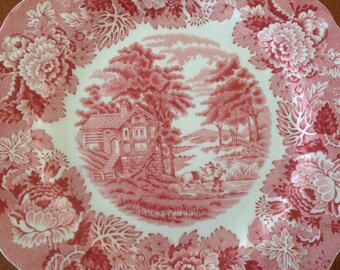 """Wood & Sons ENGLISH SCENERY Pink 8"""" Salad Plate Swirl Rim - Woods Ware - Pink / Red and White Transferware Floral (3 Available)"""