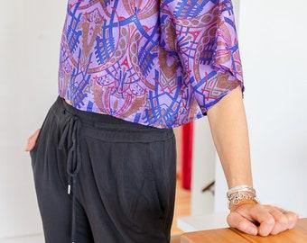 Crop Top; Summer Top; T-Shirt; Purple Crop Top; Size Small-Medium