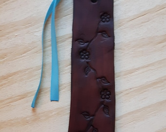 Leather Bookmark, Flower Bookmark, Floral Bookmark, Bookmark