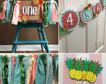 Luau BUNDLE- First Birthday, Coral and Teal, Hawaii Party, Tropical First Birthday, Luau Photo Banner, Luau Garland, High Chair Banner