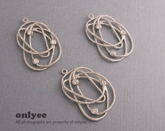 6pcs-30mm x 18mmRhodium plated Brass Textured Wire With cibic drop pendants (K450S)