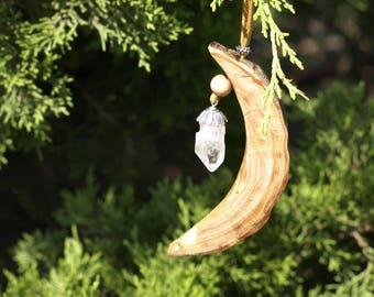 Wood crystal ornament moon