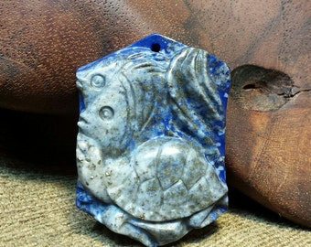 Sale #EarthDay ~ Sea Turtle and Fish carved in Natural Lapis Lazuli Trapezoid