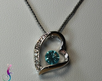 Chain and heart pendant with Blue Crystal silver plated A188