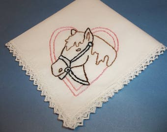 Horse handkerchief,READY TO SHIP  gift horse, girl gift, hand embroidered, love of horse hanky, equestrian hanky, pink heart, brown horse,