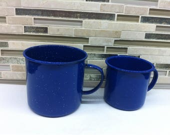 Mid Century Rustic Farm House Dark Blue and White Speckled Enamel Mugs