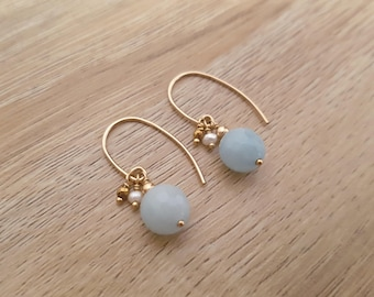 """Beautiful stone"" earrings - Amazonite, Golden hematite, gold and fresh water Pearl laminated - joy, happiness, communication."