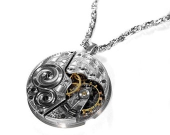 Steampunk Jewelry Necklace Vintage 1912 ELGIN Silver Guilloche Etched Pocket Watch STUNNING, Anniversary. Mens Holiday Gift - by edmdesigns