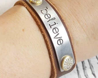 Leather Cuff, Leather Bracelet, Cuff Bracelet, Leather Wristband, Leather Jewelry, Brown Leather Cuff, Women Bracelet, Hand Stamped Cuff