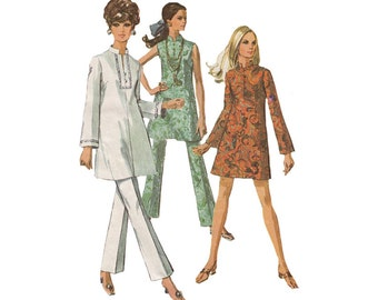 1960s Guru Mini Dress or Tunic with Flared Pants Simplicity 7994 Rajah Stand-Up Collar Slit Neck Bell Sleeves Size 10 Bust 32.5