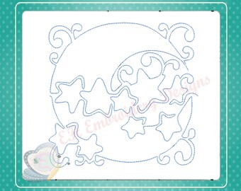 Sky Nursery Continuous Quilt Line Machine Embroidery Design/sun/moon/pattern/baby/redwork/4/5/6 inch