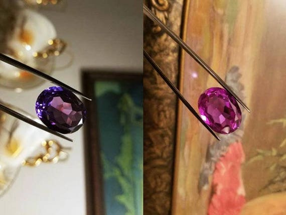 Oval 22.37 carat synthetic color change sapphire alexandrite gem stone, lab created, lab made, loose gem, purple, pink, blue, color change