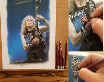 Original Pastel Drawing - Iron Maiden - Janick Gers - Size A3