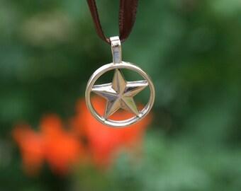Handmade 14K Yellow Gold Texas Star Pendant *