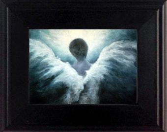 Ascending Angel Art Print, Guardian Angel Art, Angel, Miniature Art, Spiritual Gift, Home Decor