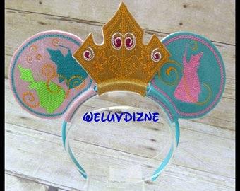 Sleeping Beauty Aurora Fairies Crown Ears Headband