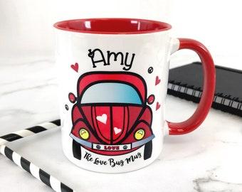 Personalised Red  Love Bug Red Inner Mug