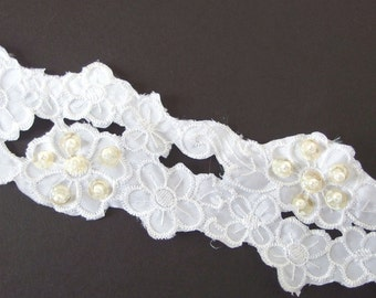 "6.6 Yds. Vintage 2.5"" White Lace Galloon Scallop - Pearls and Sequins Trim"