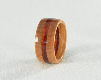 Wood Ring - Cherry and Bloodwood Wood Ring - Wedding Ring, Wedding Band, or Engagement Ring - All Natural - Handmade