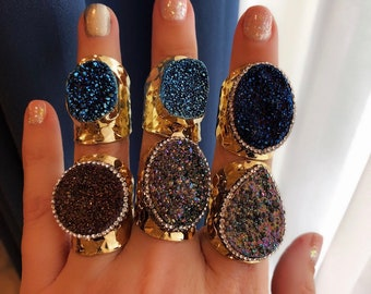 Druzy Statement Rings, New Years Jewelry, statement rings