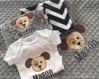 Puppy Baby Blanket, Puppy Bodysuit, Puppy Burp Cloths, Puppy Blanket Set, Baby Boy Blanket, Personalized Blanket