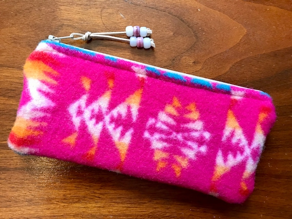 Wool Sunglasses Case / Glasses  Case / Tampon Case / Zippered Pouch Hot Pink Mini Chief Joseph