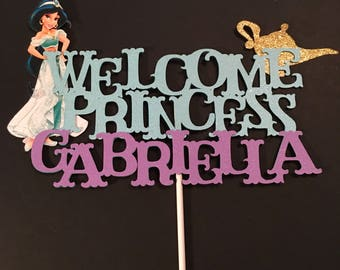 Jasmine Baby Shower Cake Topper, Princess Baby Shower Cake Topper,Welcome Baby Cake Topper,Jasmine Cake Topper, It's A Girl