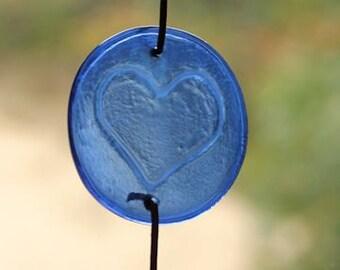 Peace, Love, Dogs Recycled Wine Bottle Glass Roundel Suncatcher