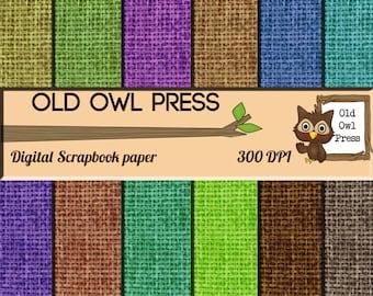 Burlap paper, digital download, scrapbook paper, paper pack,  12 by 12 , 12 colors, commercial use, instant download, downloadable