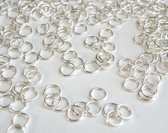 100 Round Jump Rings shiny silver 6mm 21 gauge DB00493