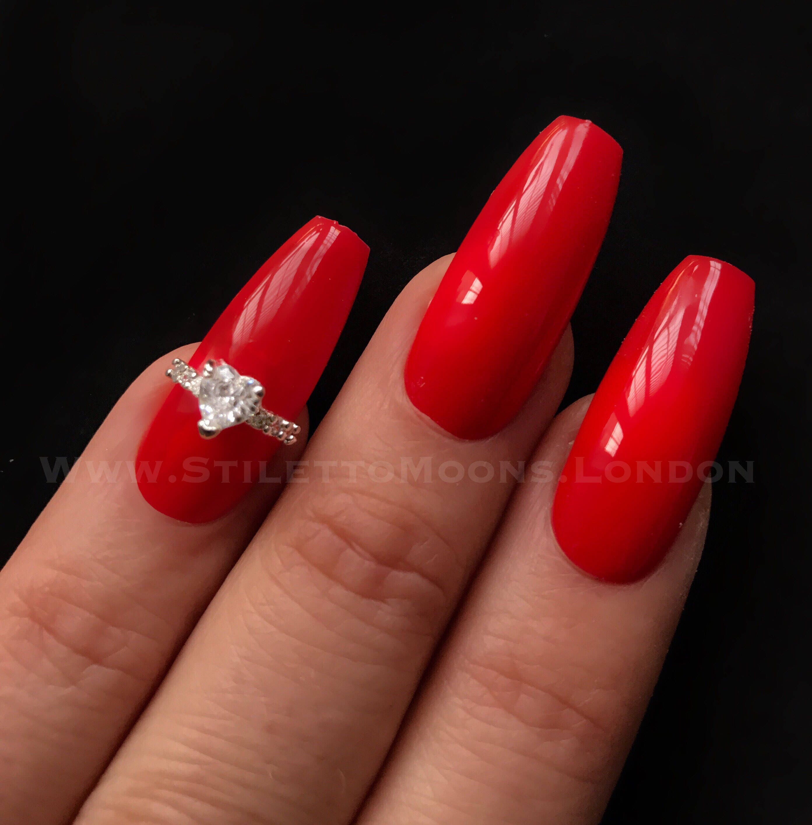 Rose gold or silver Sparkling limited edition zircon half nail art ...