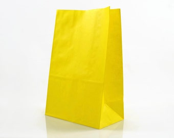 YELLOW PAPER BAGS (Set of 12 Stand Up Bags) - Yellow Stand up Paper Bags (20cm x 12.5cm)