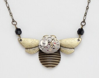 Steampunk Gold Bumble Bee Necklace with Vintage Watch Movement and Wire Wrapped Black Crystal Beads, Art Deco Design Statement Jewelry